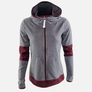 Champion XS Gray Burgundy Full Zip Hooded Jacket